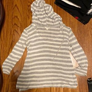 White and gray striped light sweater
